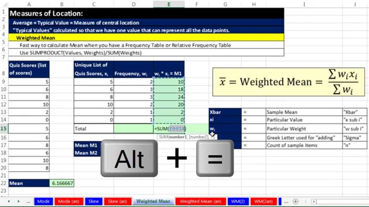 Excel 2013 Statistical Analysis #17: Weighted Mean