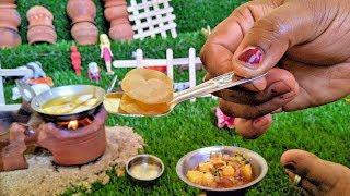 TINY POORI  ALOO MASALA  Miniature Poori Potato Kurma Recipe  Tiny Cooking Show