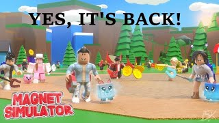 ROBLOX MAGNET SIMULATOR IS BACK   HUGE GIVEAWAY AT 380   ROAD TO 400