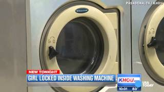 Girl trapped in washing machine on rinse cycle