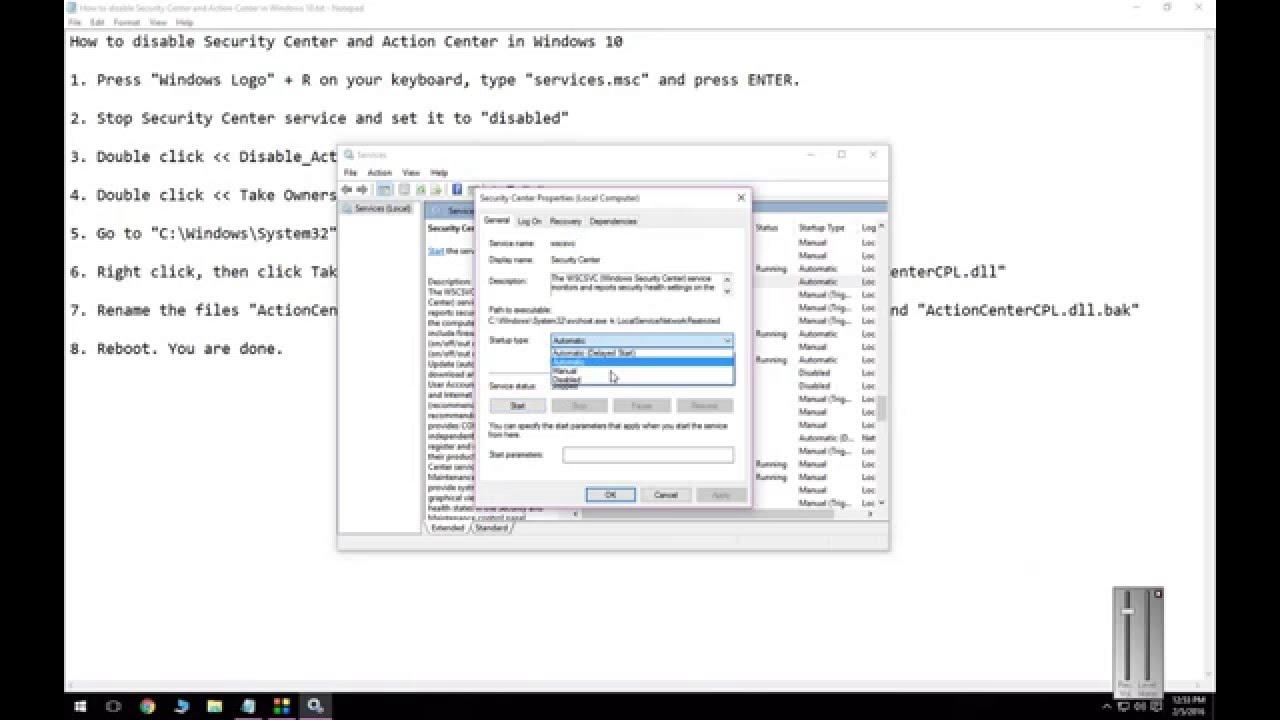 disable windows security center service notification windows 10
