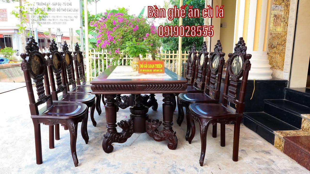 Bộ bàn ăn cù lá gỗ gụ mật giao cho khách tại Tiền Giang