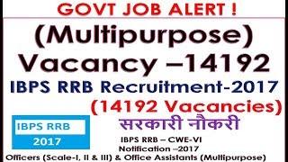 GOVT JOB ALERT IBPS RRB Notification –2017 (Multipurpose) Vacancy–14192 Office Assistants-I II & III 2017 Video