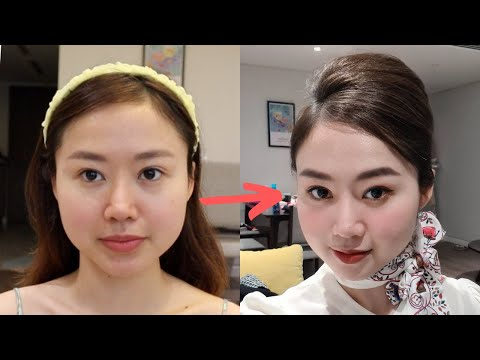 MAKEUP VÀ BÚI TÓC KIỂU TIẾP VIÊN HÀNG KHÔNG| Vừa makeup vừa tám xàm xí | Jolin Sydney