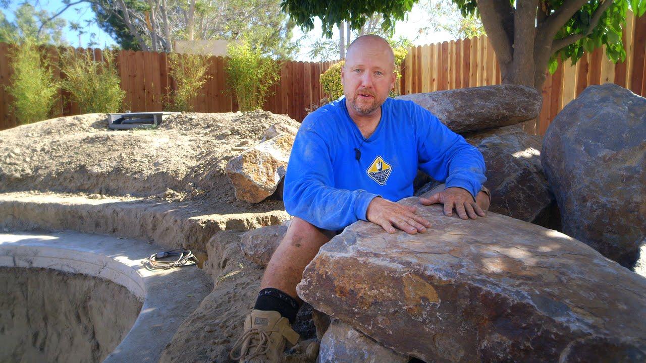 Koi Pond Construction Pond Rock Selection Part 22 Youtube