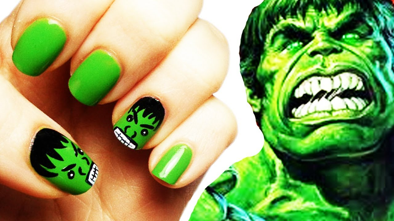 Incredible Hulk Nail Art Tutorial avengers - YouTube