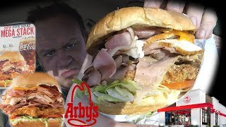 Arby's ☆FIVE MEAT MEGA STACK☆ MEAT MOUNTAIN JR! Food Review!!!