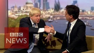 Election 2015: Boris Johnson & Ed Miliband clash on Marr - BBC News