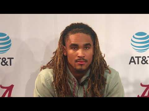 Jalen Hurts talks to media before Auburn