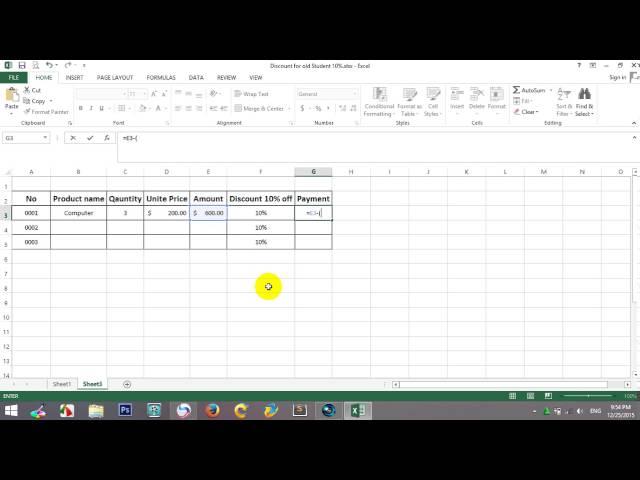 របៀបគណនារកភាគរយ ក្នុងកម្មវិធី Excel 2013 by khmer it Speak Khmer