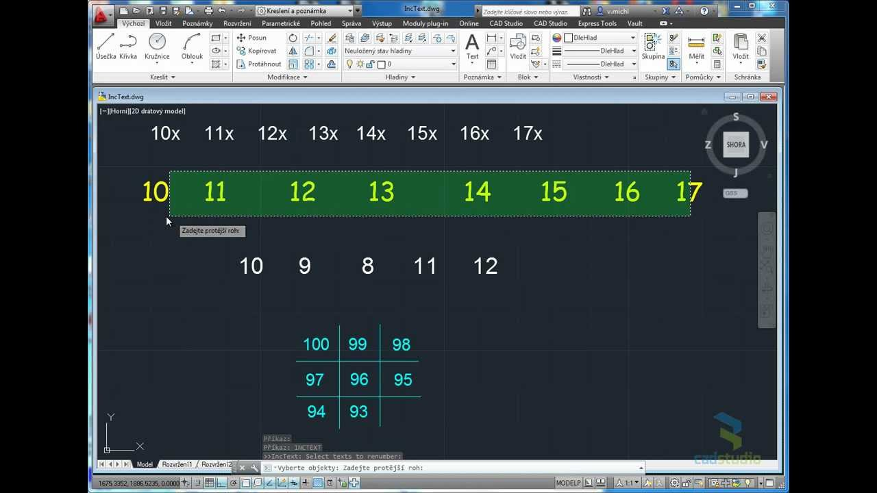 AutoCAD IncText tool - incrementing text