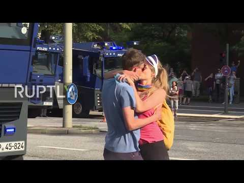 Germany: Passionate protesters are cooled down after police blast them with water cannon