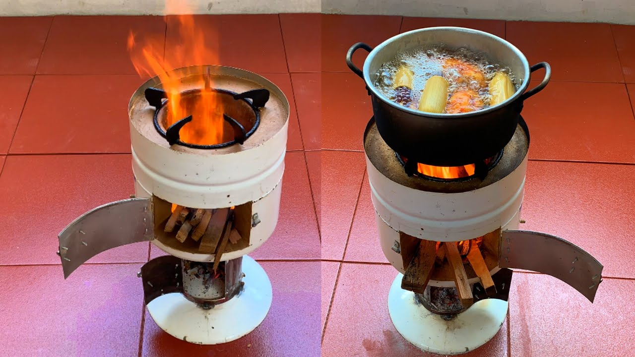 Cup shaped multi function wood stove made of cement clay and old iron jars