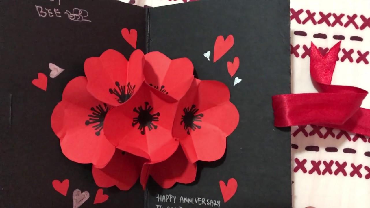 3rd Anniversary Pop Up Flower Card For My Boyfriend 立體紙花卡片 爆炸卡