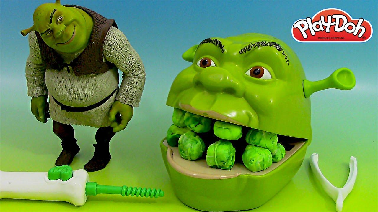 Play Doh Shrek Pâte à modeler Le dentiste ♥ Play doh Shrek 2 Rotten Root Canal Playset - YouTube