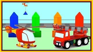 The PYRAMIDS! - HELICOPTER Puzzle - Cartoon Cars Build & Construct! Learn Colors!