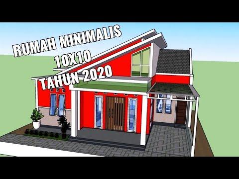 desain rumah minimalis 10x10 dengan 3 kamar tidur - youtube