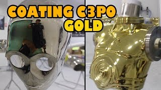 Spraying gold over chrome C3PO Gold
