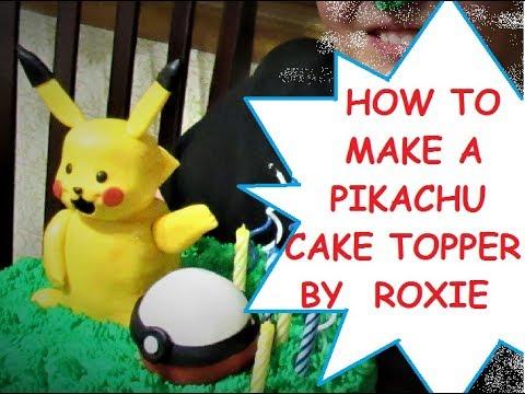 how to make a pikachu cake topper(GUM PASTE) by Roxie De La M