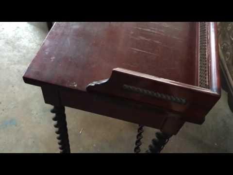 19th Century Mahogany Telephone Table with Barley Twist Legs