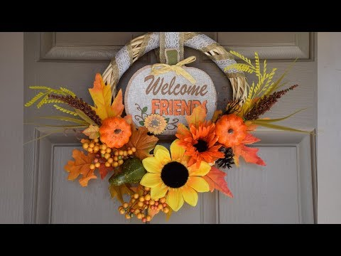 Super Easy Dollar Tree DIY Fall Wreath | 3 Fall Cricut DIY Ideas