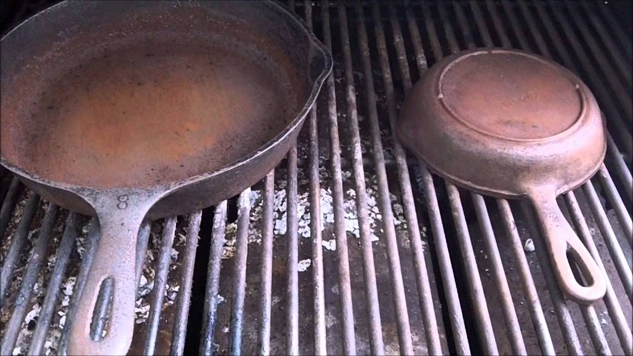 How To Strip Amp Re Season Cast Iron Pans On The Grill Youtube
