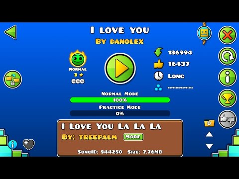 Прохождение уровня I Love You(by Danolex) Geometry Dash