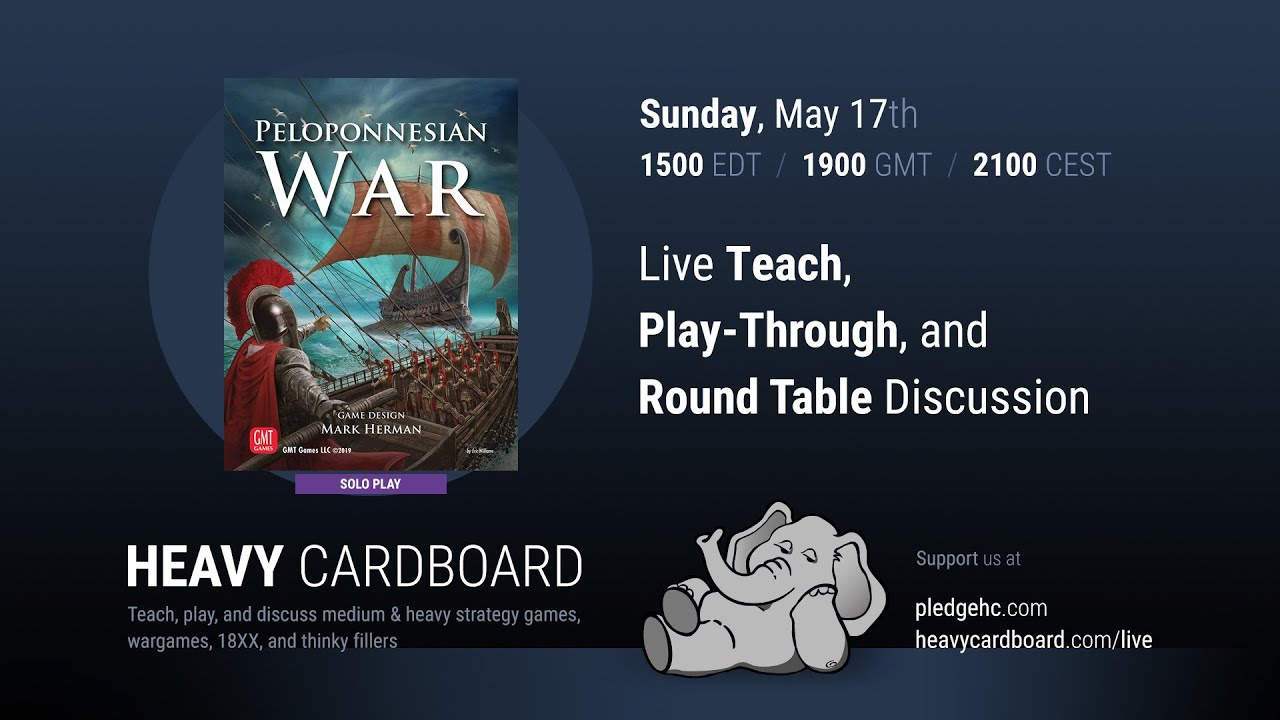 Peloponnesian War 431-404 BC (solo) Teaching, Play-through, & Round table by Heavy Cardboard