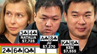 THREE PLAYERS FLOP A FLUSH! UNBELIEVABLE POKER HAND! ♠ Live at the Bike!