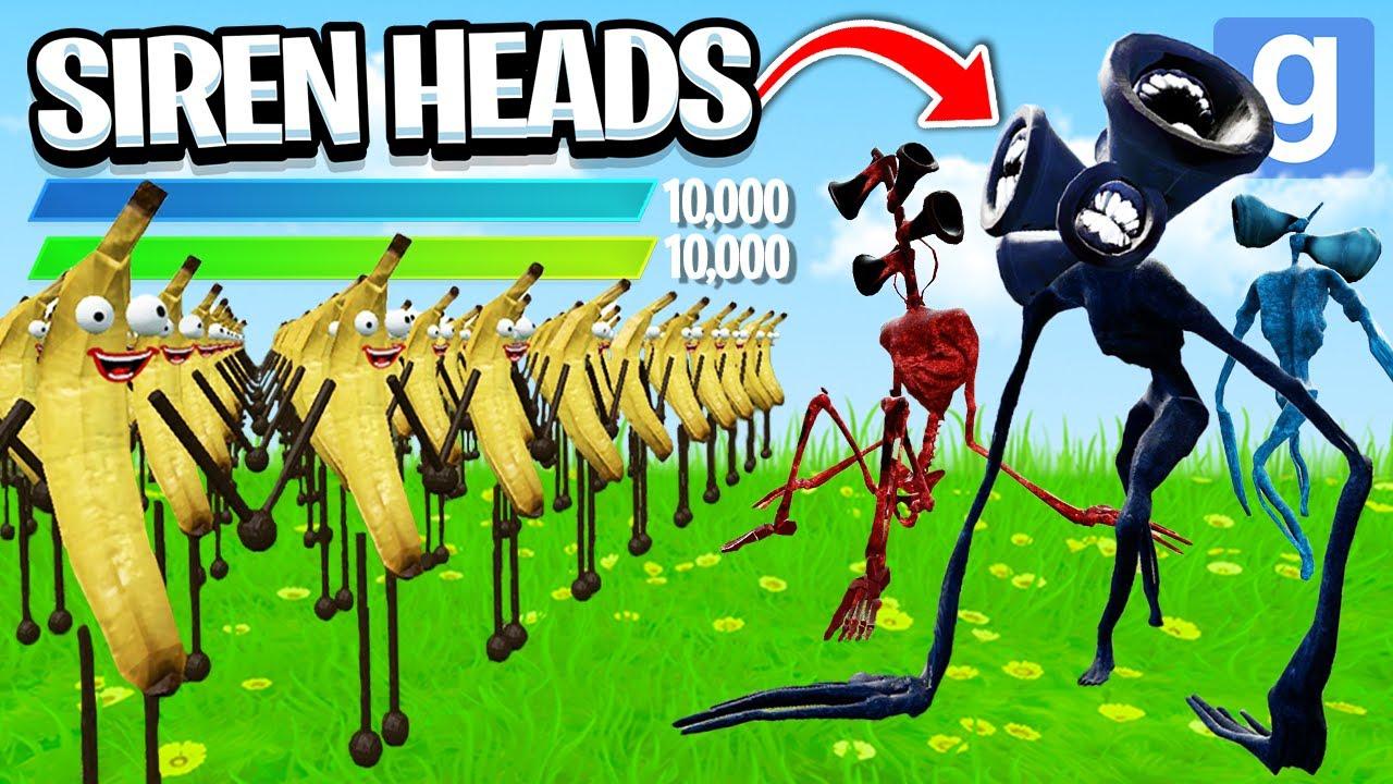 Download 100 BANANAS vs... SIREN HEADS?! (Garry's Mod Sandbox)   JustJoeKing