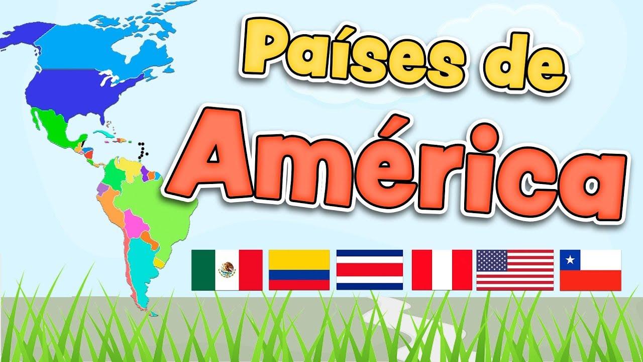 Paises de Amrica en espaol  Mapa banderas y capitales para