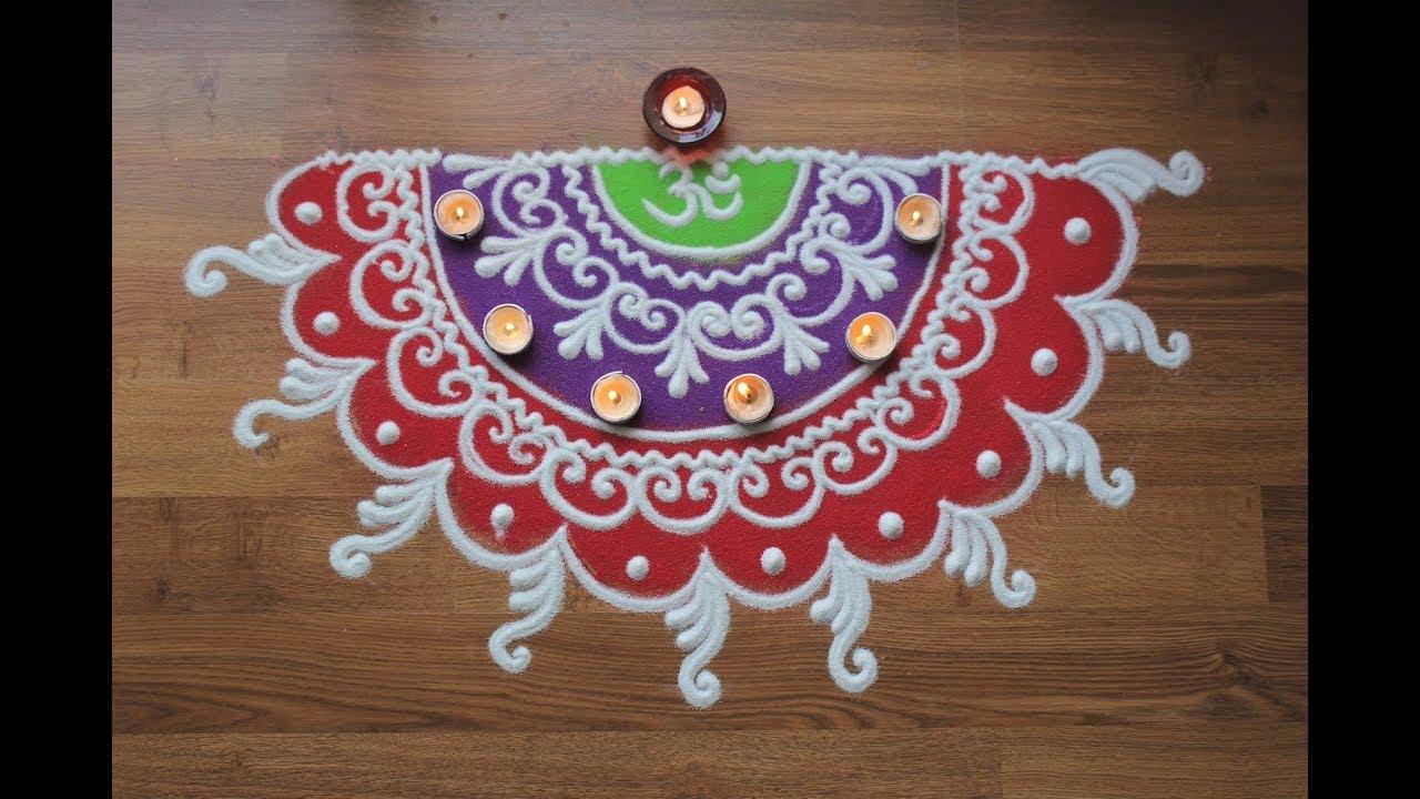Quick And Simple Freehand Sanskar Bharti Rangoli Design For Diwali