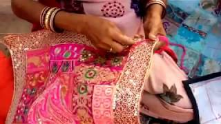 Indian embroidered patchwork wall hangings, from recycled materials being made in rural Rajasthan