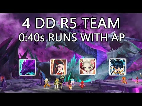NEW 4 DAMAGE DEALER R5 TEAM WITH YOUR AP - 40 SECOND RUNS  - Summoners War