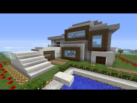 Como hacer una casa moderna en minecraft youtube for Construir casas modernas
