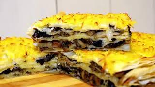 Закусочный торт из лаваша! Быстро и вкусно! Закуска с грибами.