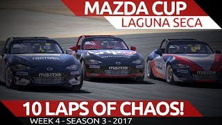 Complete Chaos for 10 laps Mazda Cup @ Laguna Seca iRacing