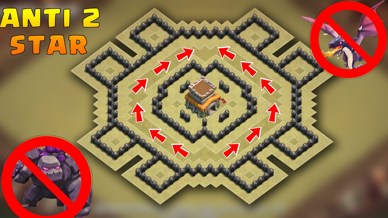 Town Hall 8 Anti 2 stars War Base 2017 With Proof | CoC ...