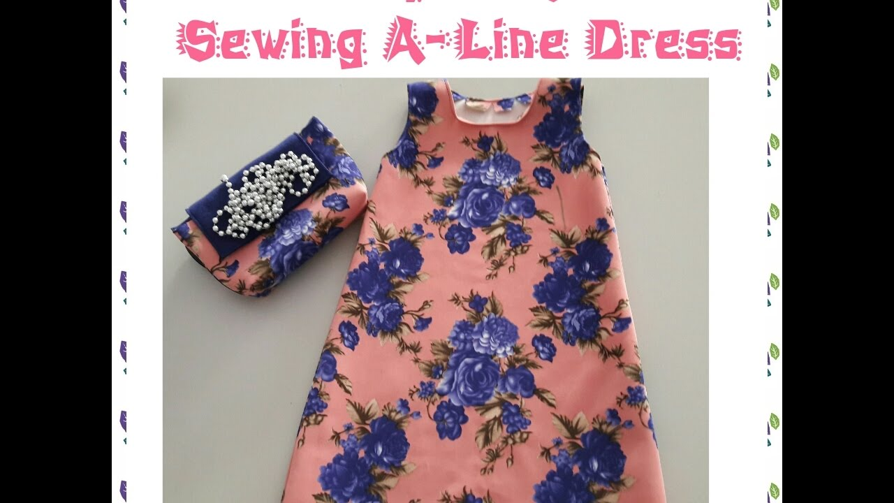 28aeac62aa How to make pattern and sew an easy ALine dress with portable sewing machine