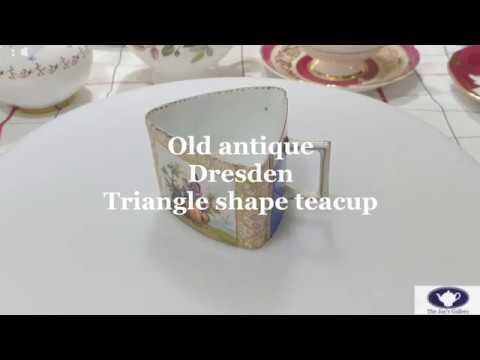 [antique] 앤틱찻잔 유니크한 드레스덴 명화잔!! Unique Dresden triangle shape cup