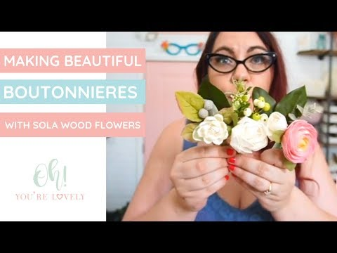How to make boutonnieres using sola wood flowers - 3 styles