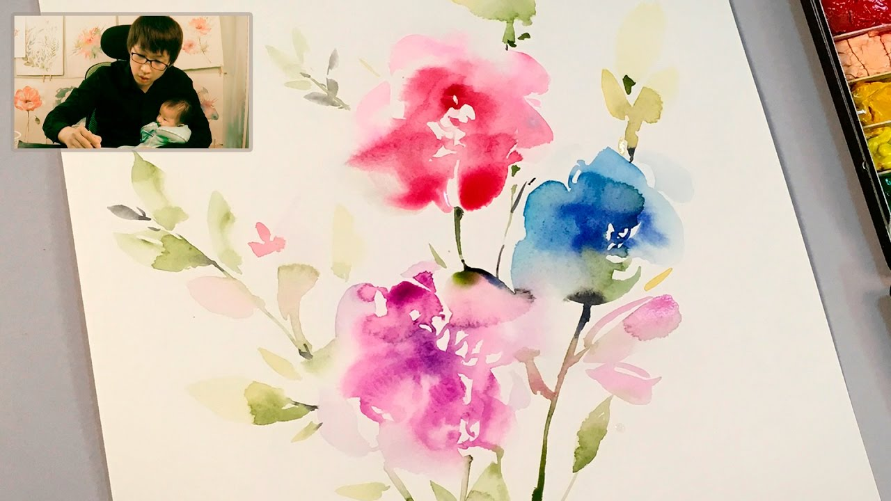 lvl3 watercolor flowers tutorial youtube