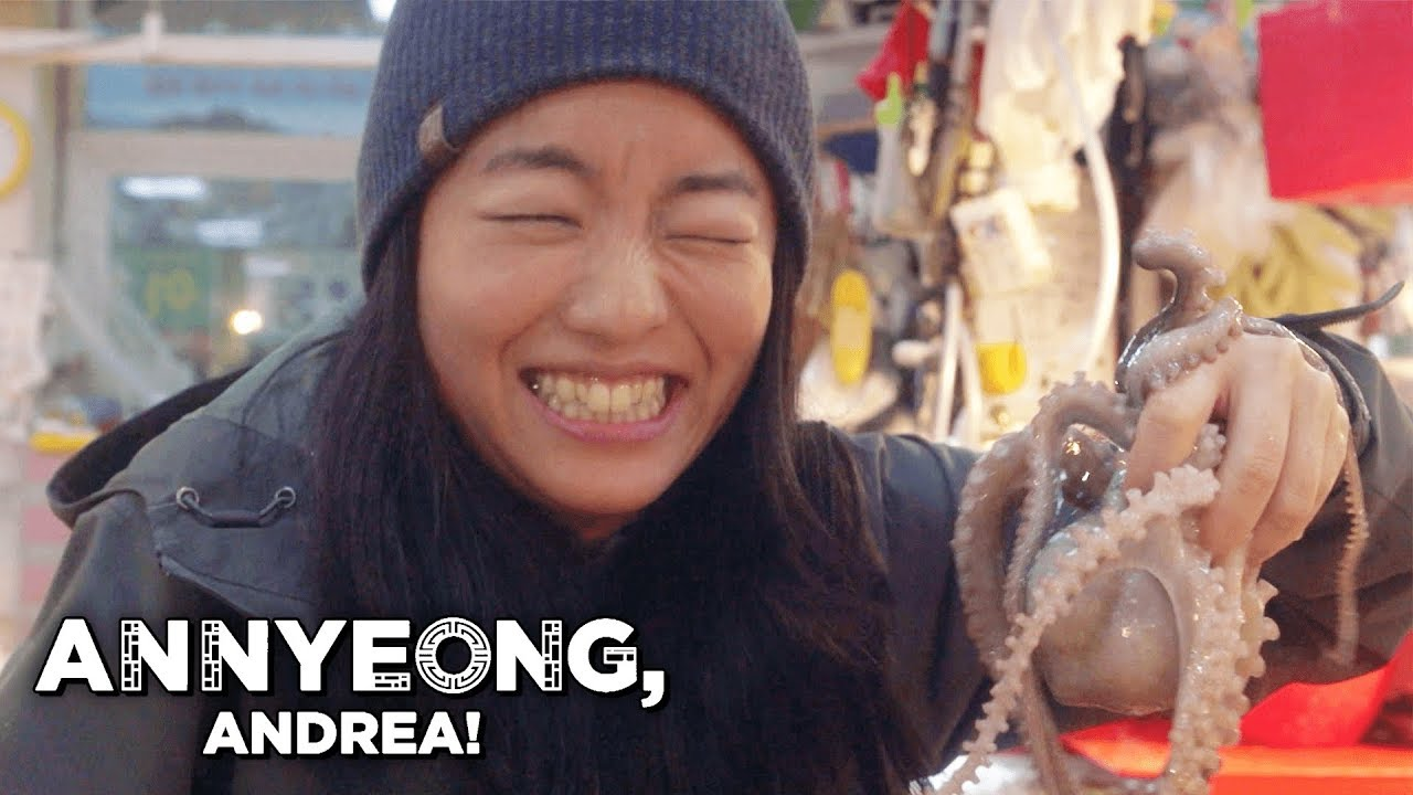 Live Octopus Eating and Other Food Delicacies in Korea | Annyeong, Andrea