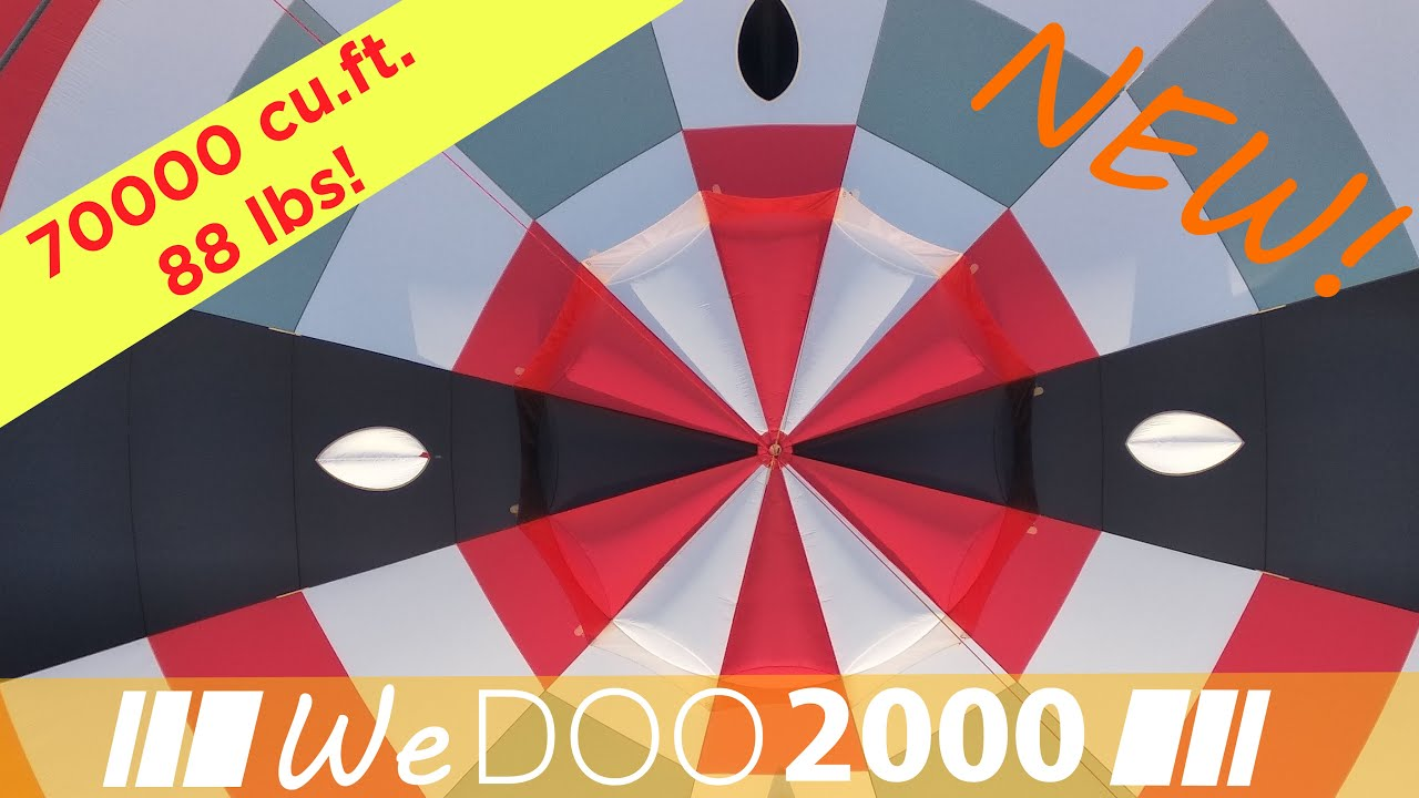 Hot air balloon envelope WeDOO2000: the lightest in its size! 70000cu.ft. at only 88 lbs!
