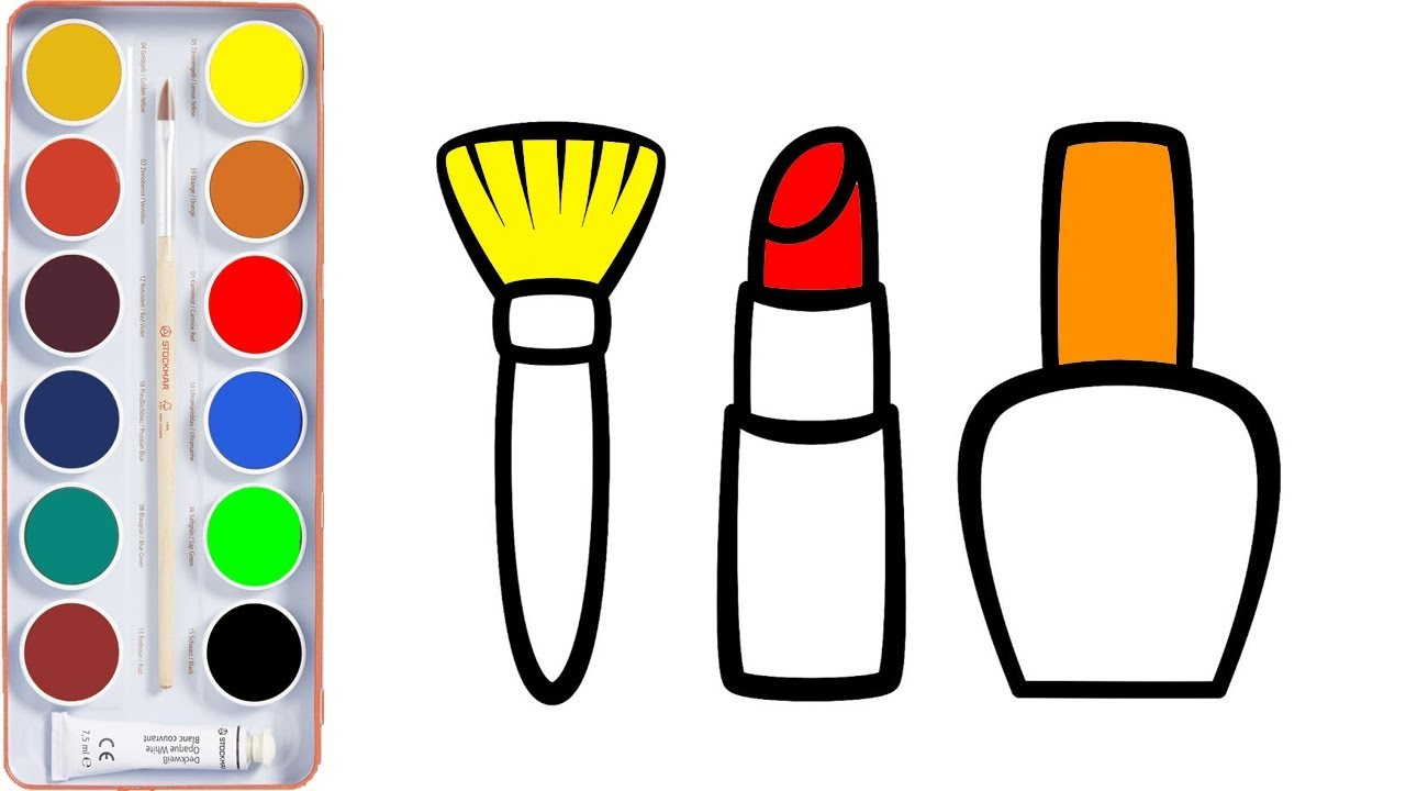 How To Draw Makeup Set For Kid Girls