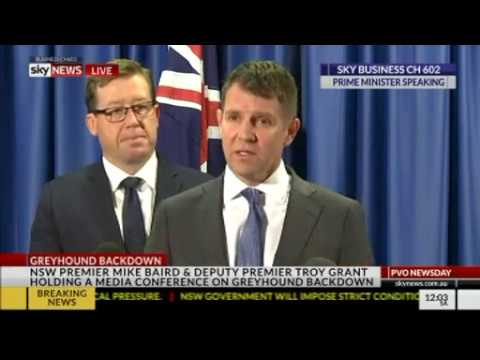NSW Premier Mike Baird and Deputy Premier Troy Grant on greyhound reversal