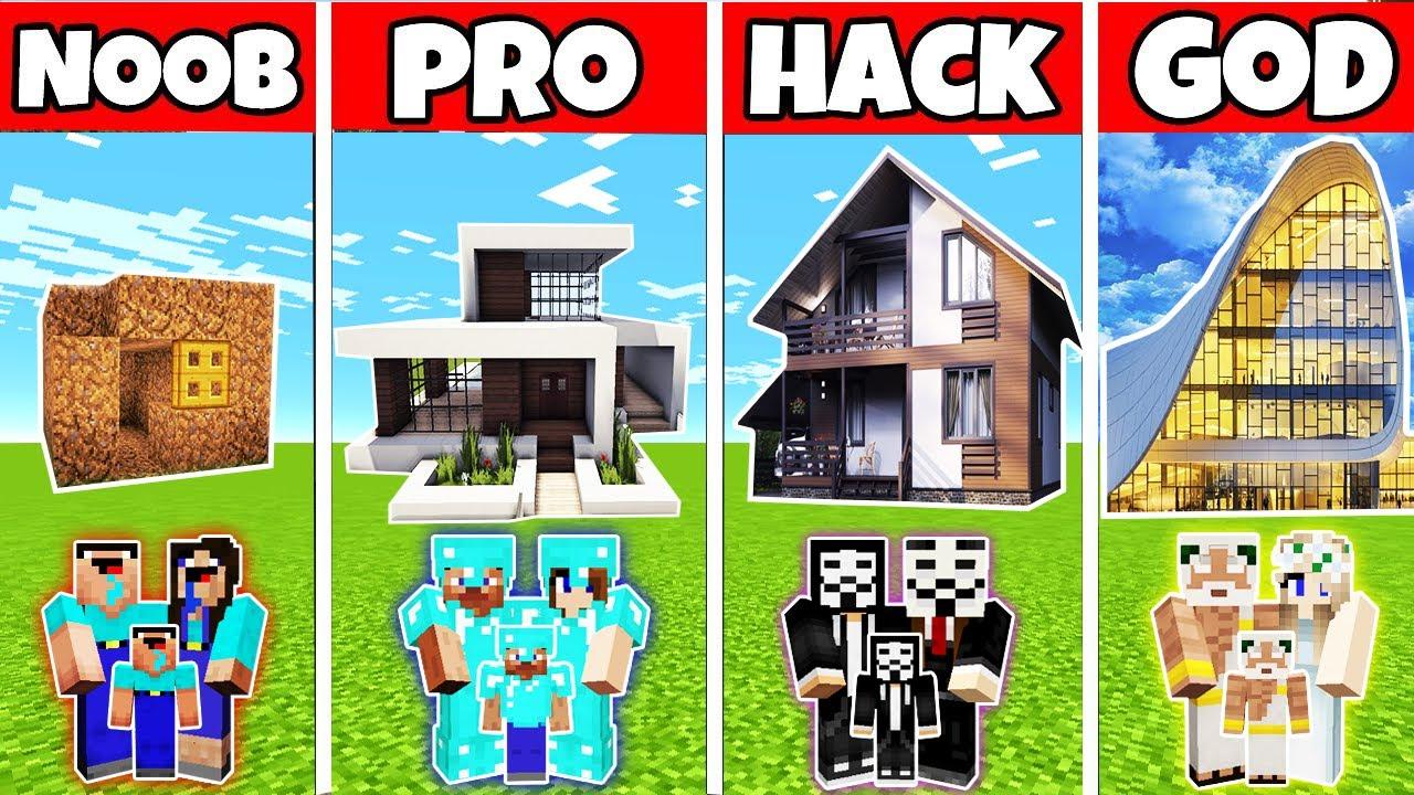 Minecraft: FAMILY HOME FOR LIVING BUILD CHALLENGE - NOOB vs PRO vs HACKER vs GOD in Minecraft
