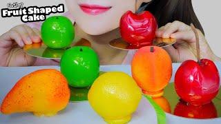 ASMR EATING FRUITS SHAPED CAKE ( MANGO , APPLE, PEACH, LEMON , CHERRY ) EATING SOUND LINH-ASMR
