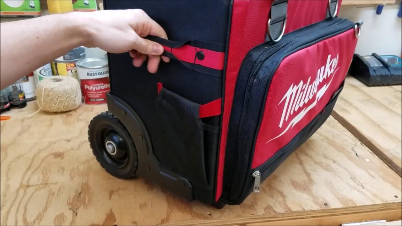 Storage Telescoping Handle Wheels Milwaukee Jobsite Rolling Tool Bag 18 in