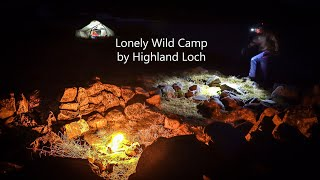 A lonely wild camp at a remote mountain loch